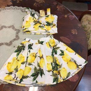 Crop top skirt 2 piece set lemon fruit print